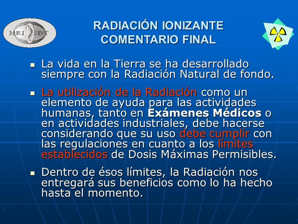 La vida en la Tierra se ha desarrollado siempre con la Radiación Natural de fondo. La vida en la Tierra se ha desarrollado siempre con la Radiación Na