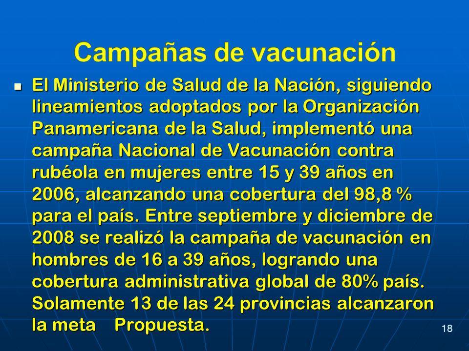 El Ministerio de Salud de la Nación, siguiendo lineamientos adoptados por la Organización Panamericana de la Salud, implementó una campaña Nacional de Vacunación contra rubéola en mujeres entre 15 y 39 años en 2006, alcanzando una cobertura del 98,8 % para el país.