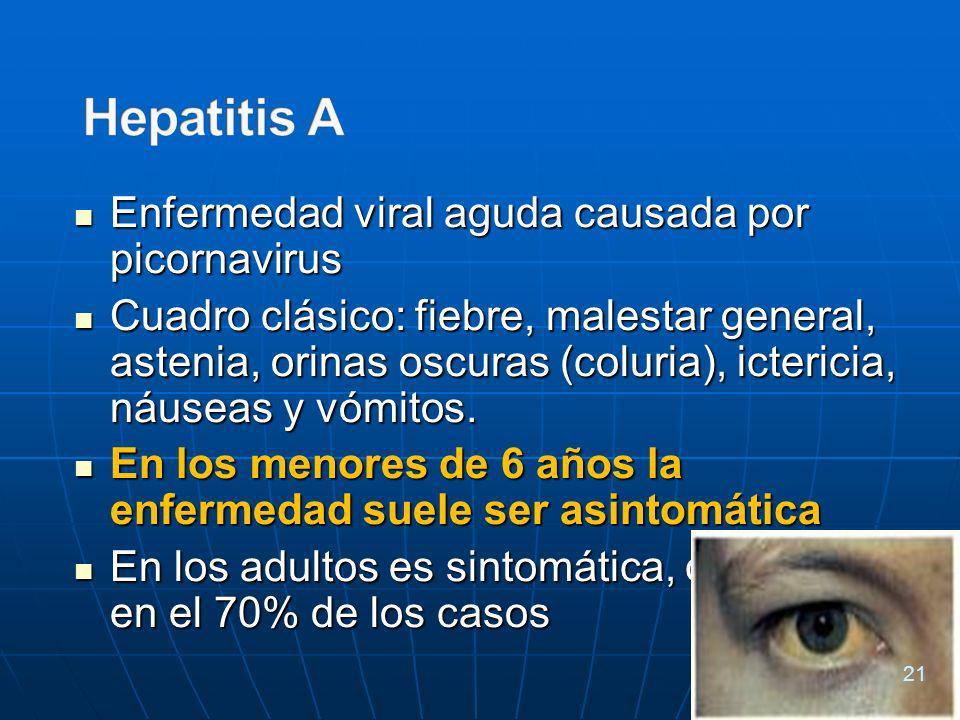 Enfermedad viral aguda causada por picornavirus Enfermedad viral aguda causada por picornavirus Cuadro clásico: fiebre, malestar general, astenia, orinas oscuras (coluria), ictericia, náuseas y vómitos.
