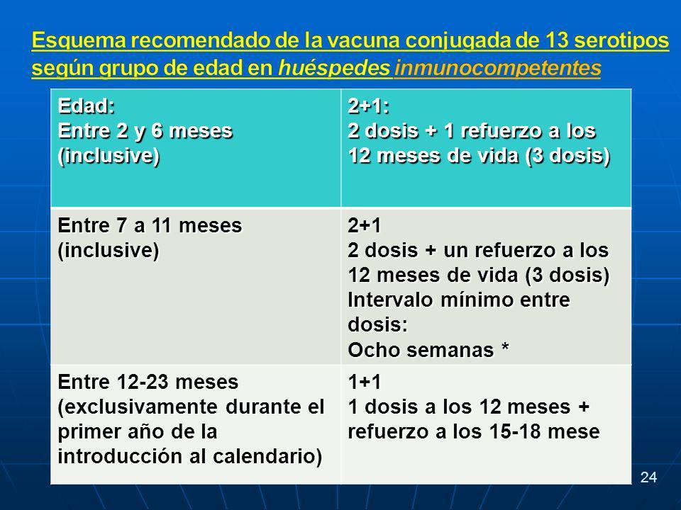 Edad: Entre 2 y 6 meses (inclusive) 2+1: 2 dosis + 1 refuerzo a los 12 meses de vida (3 dosis) Entre 7 a 11 meses (inclusive) 2+1 2 dosis + un refuerzo a los 12 meses de vida (3 dosis) Intervalo mínimo entre dosis: Ocho semanas * Entre 12-23 meses (exclusivamente durante el primer año de la introducción al calendario) 1+1 1 dosis a los 12 meses + refuerzo a los 15-18 mese 24