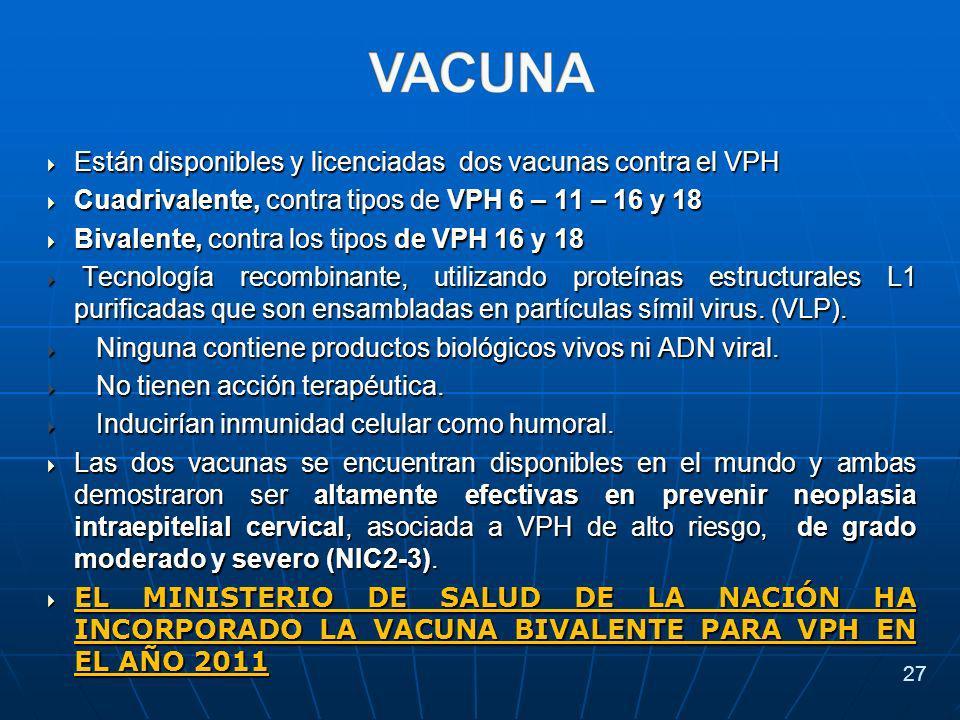 Están disponibles y licenciadas dos vacunas contra el VPH Están disponibles y licenciadas dos vacunas contra el VPH Cuadrivalente, contra tipos de VPH 6 – 11 – 16 y 18 Cuadrivalente, contra tipos de VPH 6 – 11 – 16 y 18 Bivalente, contra los tipos de VPH 16 y 18 Bivalente, contra los tipos de VPH 16 y 18 Tecnología recombinante, utilizando proteínas estructurales L1 purificadas que son ensambladas en partículas símil virus.