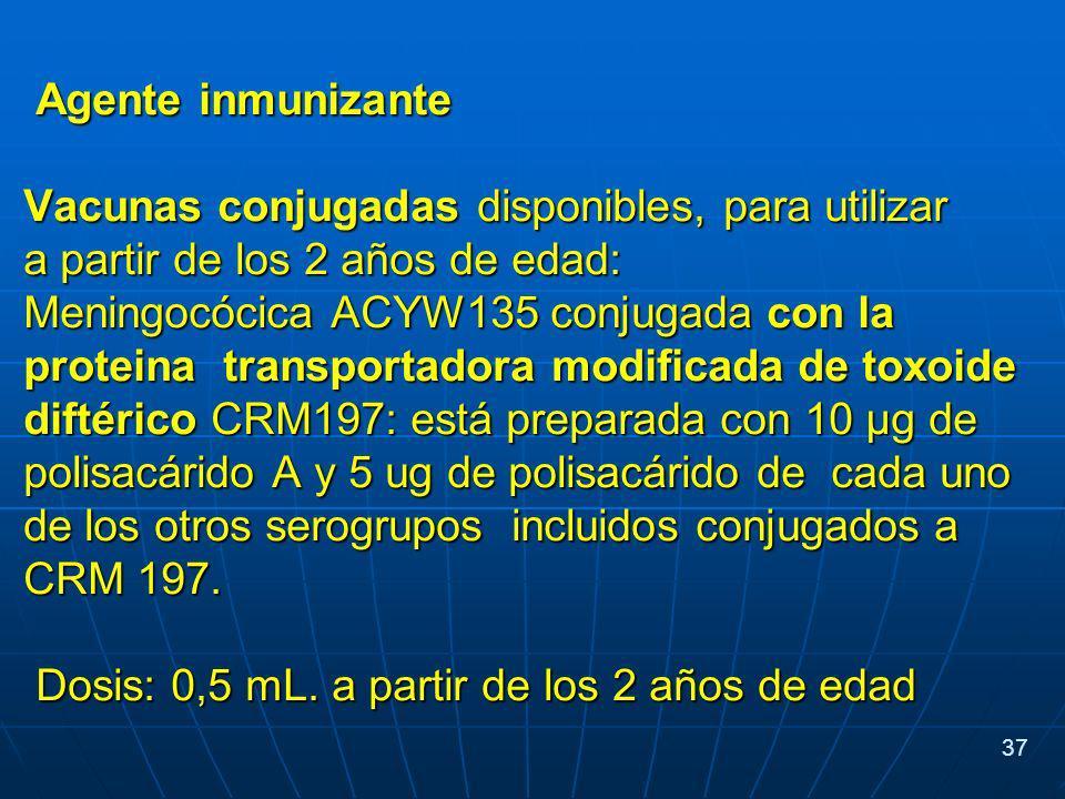Agente inmunizante Agente inmunizante Vacunas conjugadas disponibles, para utilizar a partir de los 2 años de edad: Meningocócica ACYW135 conjugada con la proteina transportadora modificada de toxoide diftérico CRM197: está preparada con 10 µg de polisacárido A y 5 ug de polisacárido de cada uno de los otros serogrupos incluidos conjugados a CRM 197.