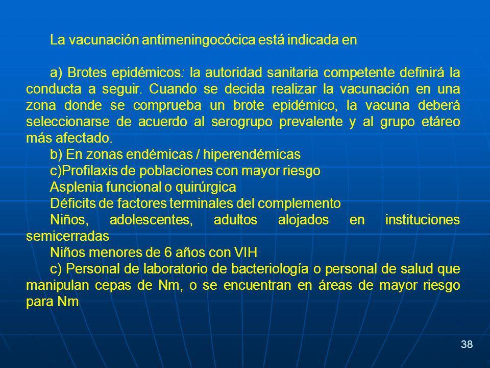 La vacunación antimeningocócica está indicada en a) Brotes epidémicos: la autoridad sanitaria competente definirá la conducta a seguir.