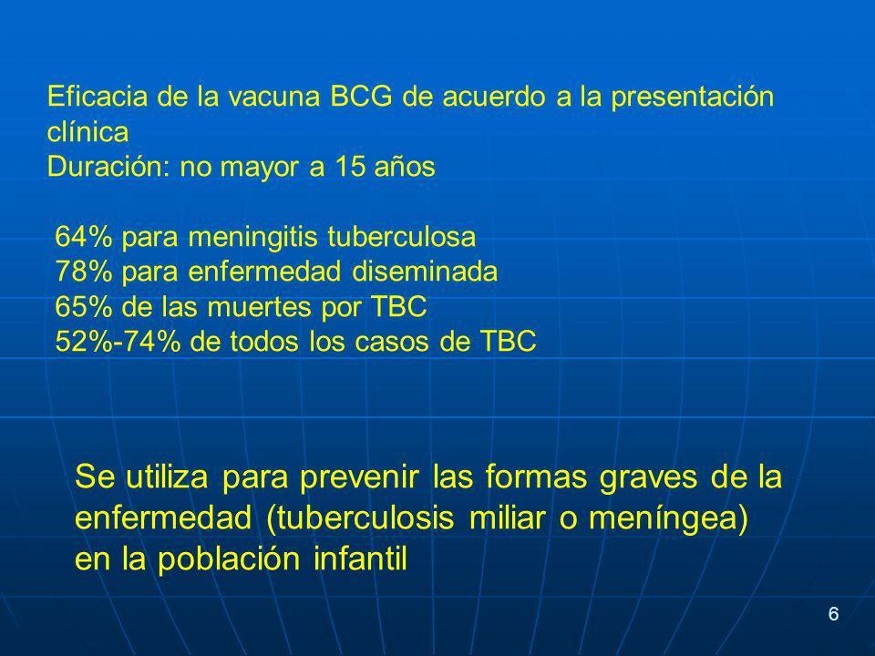 Eficacia de la vacuna BCG de acuerdo a la presentación clínica Duración: no mayor a 15 años 64% para meningitis tuberculosa 78% para enfermedad diseminada 65% de las muertes por TBC 52%-74% de todos los casos de TBC Se utiliza para prevenir las formas graves de la enfermedad (tuberculosis miliar o meníngea) en la población infantil 6