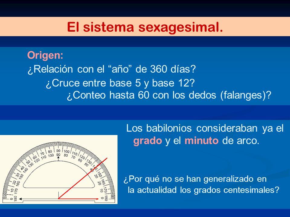 Origen: ¿Relación con el año de 360 días? El sistema sexagesimal. Los babilonios consideraban ya el grado y el minuto de arco. ¿Por qué no se han gene