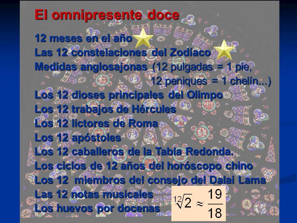12 meses en el año Las 12 constelaciones del Zodíaco Medidas anglosajonas (12 pulgadas = 1 pie, 12 peniques = 1 chelín...) 12 peniques = 1 chelín...)