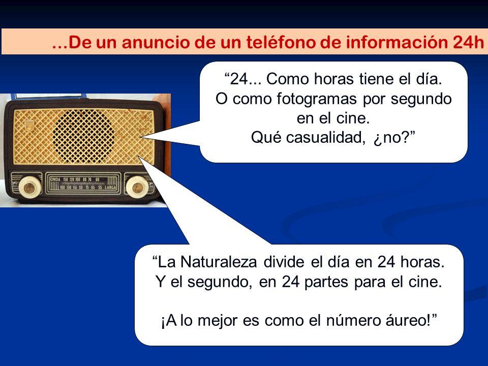 ...De un anuncio de un teléfono de información 24h 24... Como horas tiene el día. O como fotogramas por segundo en el cine. Qué casualidad, ¿no? La Na