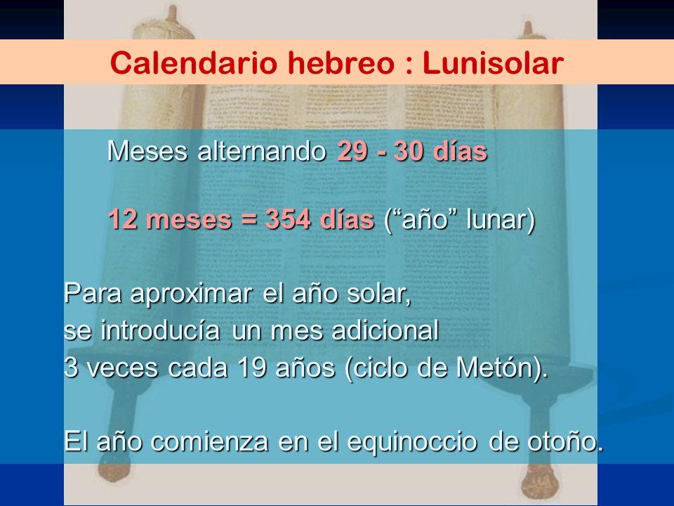 Calendario hebreo : Lunisolar Meses alternando 29 - 30 días 12 meses = 354 días (año lunar) Para aproximar el año solar, se introducía un mes adiciona