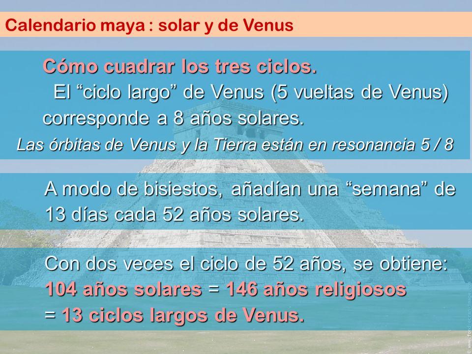 Calendario maya : solar y de Venus Cómo cuadrar los tres ciclos. El ciclo largo de Venus (5 vueltas de Venus) corresponde a 8 años solares. A modo de