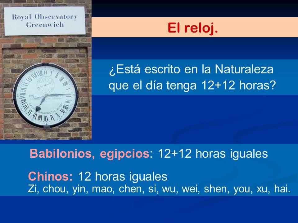 ¿Está escrito en la Naturaleza que el día tenga 12+12 horas? El reloj. Babilonios, egipcios: 12+12 horas iguales Chinos: 12 horas iguales Zi, chou, yi
