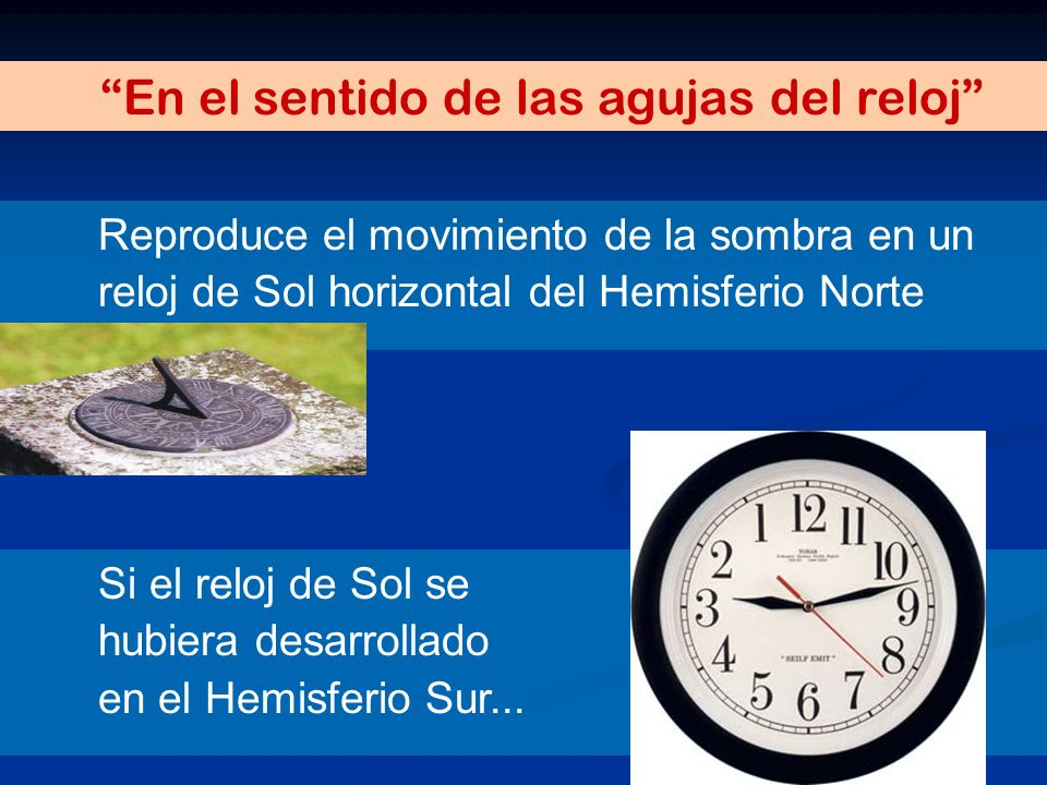 En el sentido de las agujas del reloj Reproduce el movimiento de la sombra en un reloj de Sol horizontal del Hemisferio Norte Si el reloj de Sol se hu
