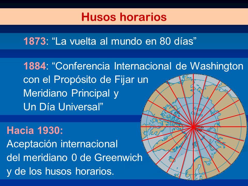 Hacia 1930: Aceptación internacional del meridiano 0 de Greenwich y de los husos horarios. 1884: Conferencia Internacional de Washington con el Propós