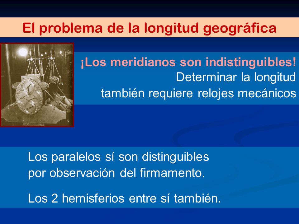 El problema de la longitud geográfica ¡Los meridianos son indistinguibles! Los paralelos sí son distinguibles por observación del firmamento. Los 2 he