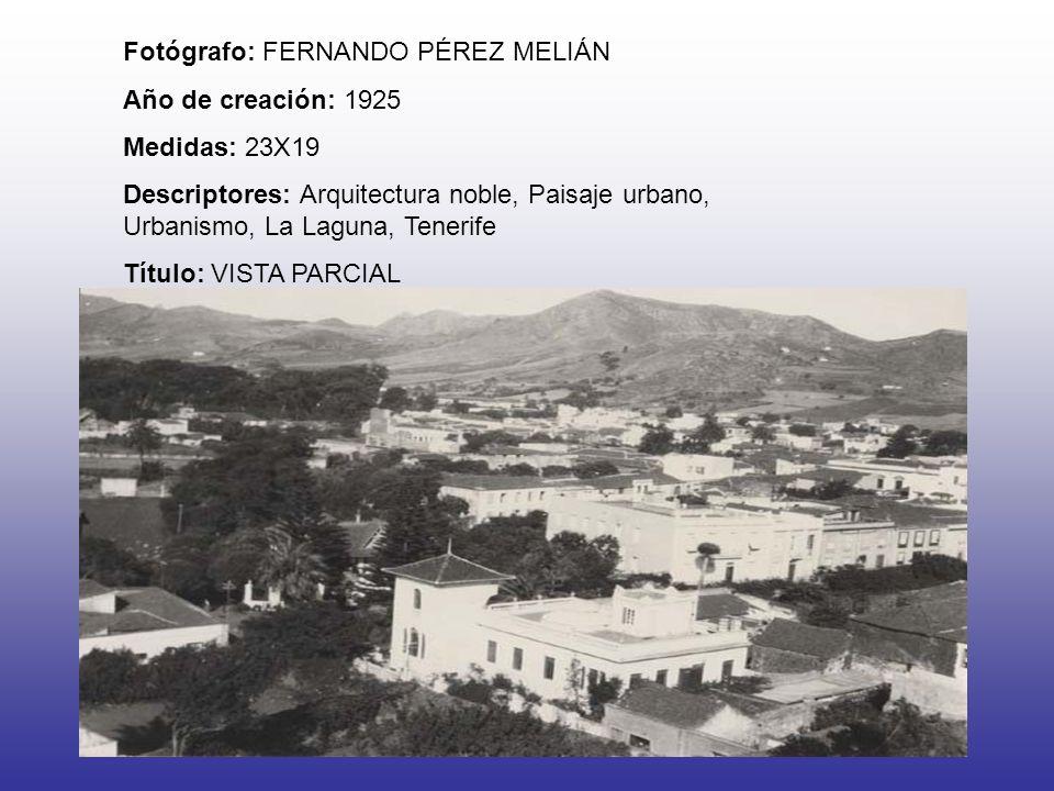 Fotógrafo: FERNANDO PÉREZ MELIÁN Año de creación: 1925 Medidas: 23X19 Descriptores: Arquitectura noble, Paisaje urbano, Urbanismo, La Laguna, Tenerife Título: VISTA PARCIAL