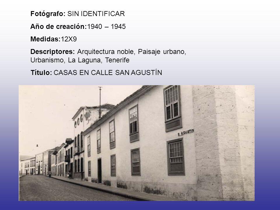 Fotógrafo: SIN IDENTIFICAR Año de creación:1940 – 1945 Medidas:12X9 Descriptores: Arquitectura noble, Paisaje urbano, Urbanismo, La Laguna, Tenerife T