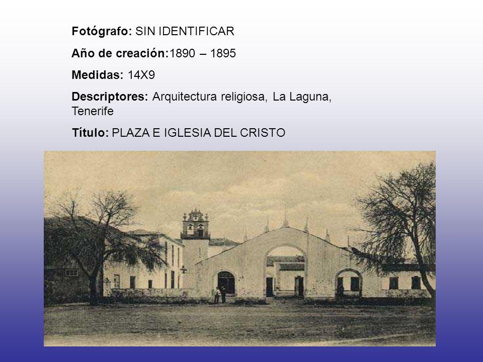 Fotógrafo: SIN IDENTIFICAR Año de creación:1890 – 1895 Medidas: 14X9 Descriptores: Arquitectura religiosa, La Laguna, Tenerife Título: PLAZA E IGLESIA