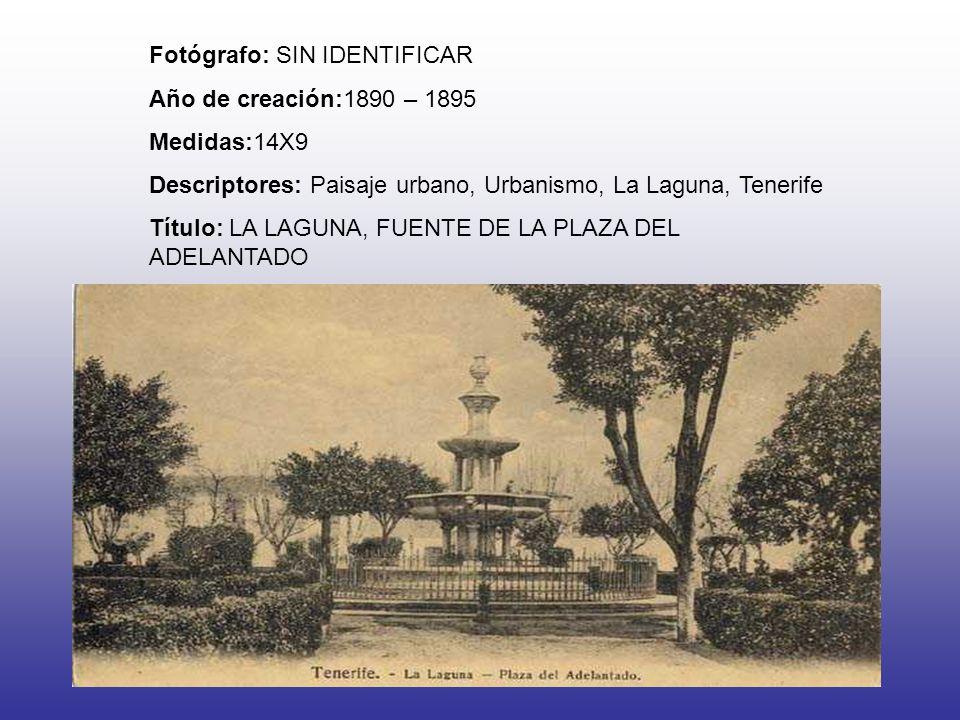 Fotógrafo: SIN IDENTIFICAR Año de creación:1890 – 1895 Medidas:14X9 Descriptores: Paisaje urbano, Urbanismo, La Laguna, Tenerife Título: LA LAGUNA, FU