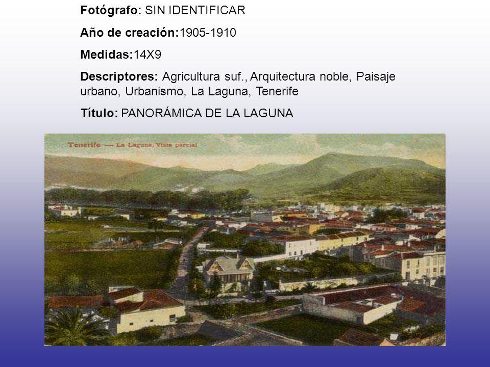 Fotógrafo: SIN IDENTIFICAR Año de creación:1905-1910 Medidas:14X9 Descriptores: Agricultura suf., Arquitectura noble, Paisaje urbano, Urbanismo, La Laguna, Tenerife Título: PANORÁMICA DE LA LAGUNA