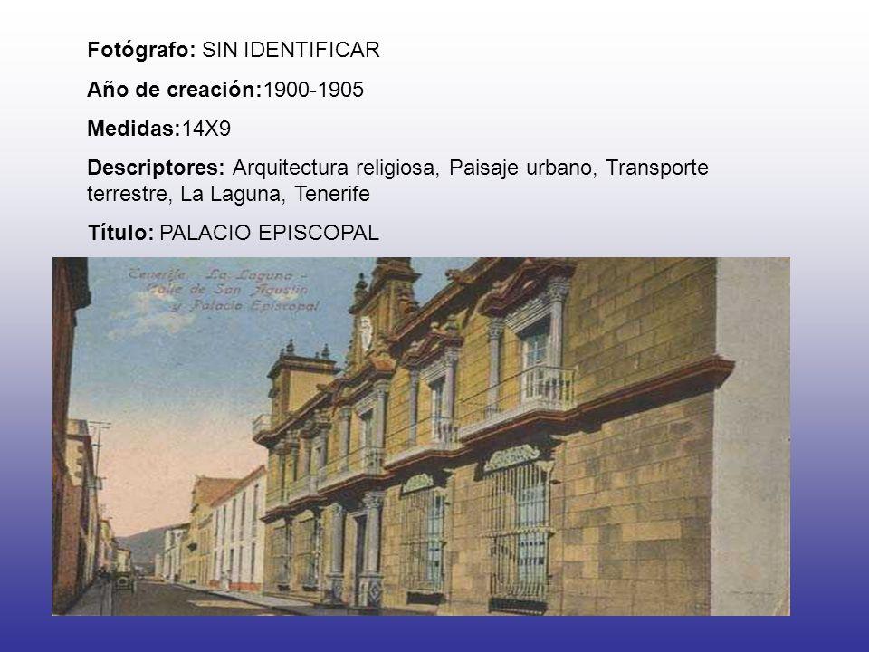 Fotógrafo: SIN IDENTIFICAR Año de creación:1900-1905 Medidas:14X9 Descriptores: Arquitectura religiosa, Paisaje urbano, Transporte terrestre, La Lagun