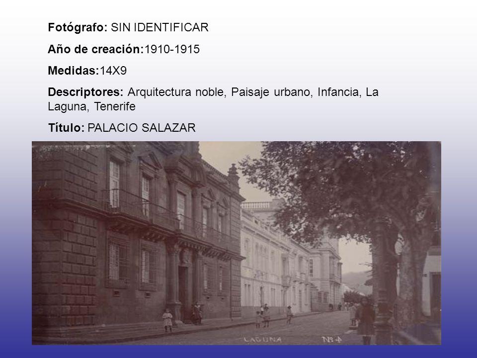 Fotógrafo: SIN IDENTIFICAR Año de creación:1910-1915 Medidas:14X9 Descriptores: Arquitectura noble, Paisaje urbano, Infancia, La Laguna, Tenerife Título: PALACIO SALAZAR