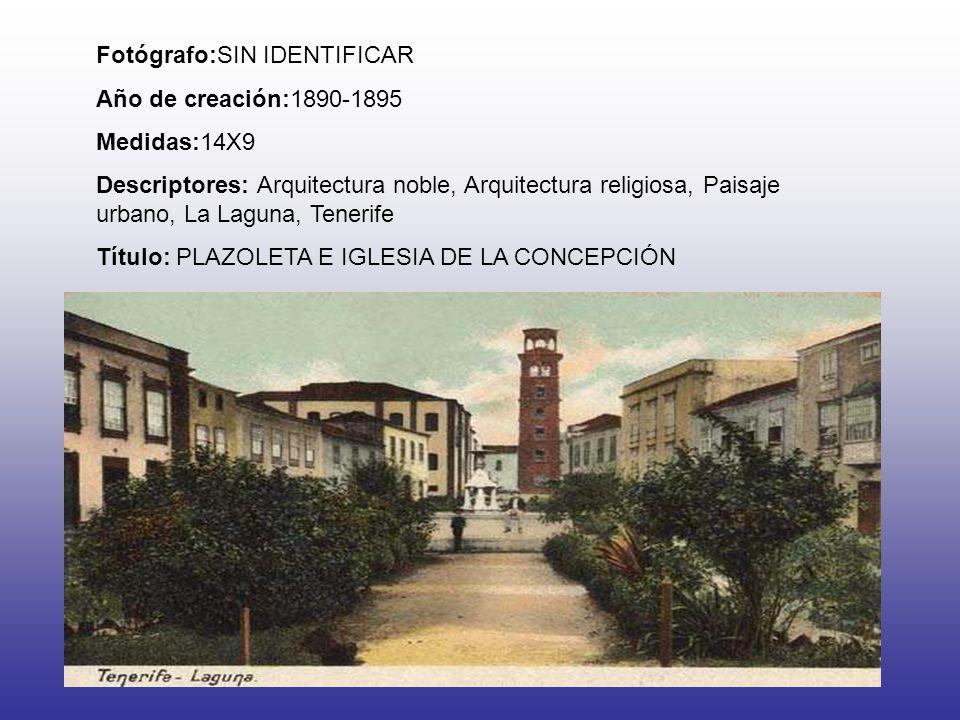 Fotógrafo:SIN IDENTIFICAR Año de creación:1890-1895 Medidas:14X9 Descriptores: Arquitectura noble, Arquitectura religiosa, Paisaje urbano, La Laguna,