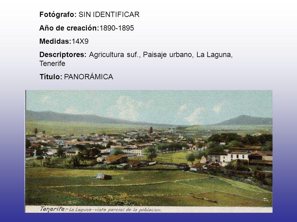 Fotógrafo: SIN IDENTIFICAR Año de creación:1890-1895 Medidas:14X9 Descriptores: Agricultura suf., Paisaje urbano, La Laguna, Tenerife Título: PANORÁMI