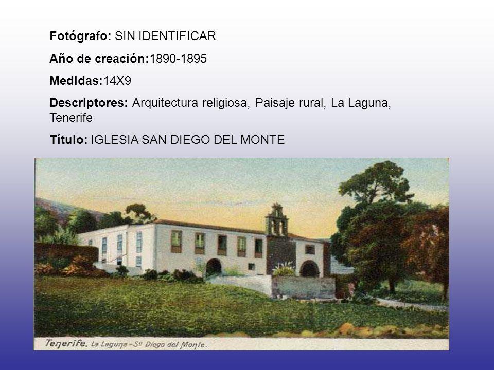 Fotógrafo: SIN IDENTIFICAR Año de creación:1890-1895 Medidas:14X9 Descriptores: Arquitectura religiosa, Paisaje rural, La Laguna, Tenerife Título: IGLESIA SAN DIEGO DEL MONTE