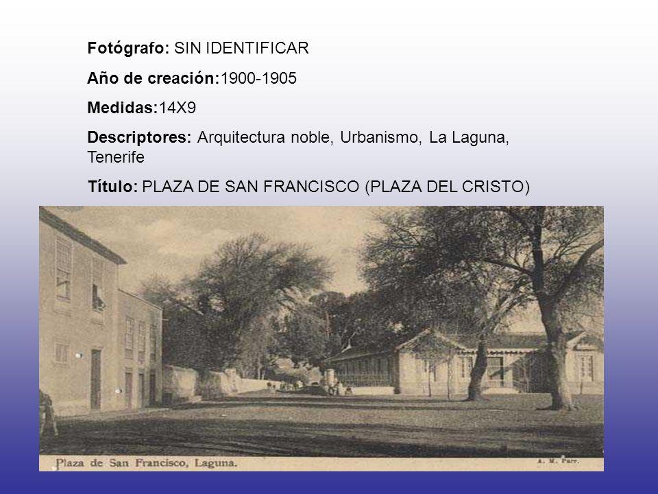 Fotógrafo: SIN IDENTIFICAR Año de creación:1900-1905 Medidas:14X9 Descriptores: Arquitectura noble, Urbanismo, La Laguna, Tenerife Título: PLAZA DE SA