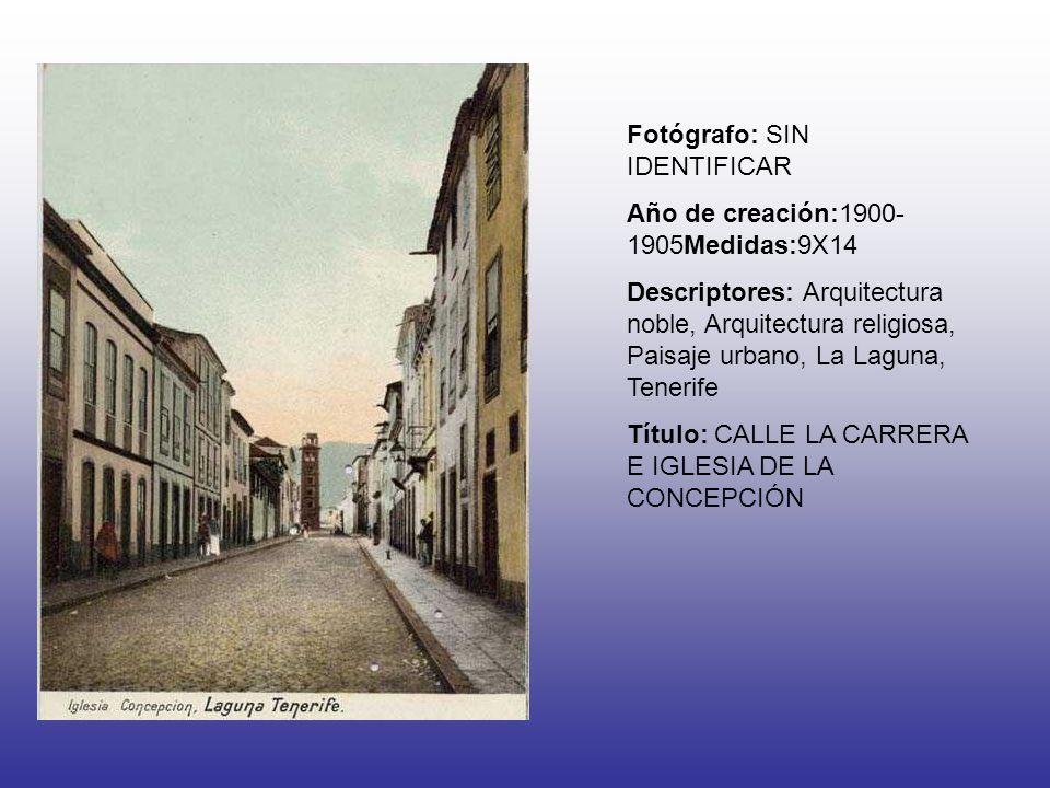 Fotógrafo: SIN IDENTIFICAR Año de creación:1900- 1905Medidas:9X14 Descriptores: Arquitectura noble, Arquitectura religiosa, Paisaje urbano, La Laguna,
