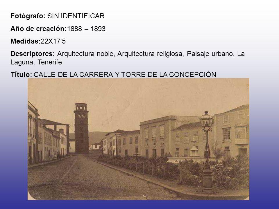 Fotógrafo: SIN IDENTIFICAR Año de creación: 1888 – 1893 Medidas: 17X22 Descriptores: Arquitectura noble, Paisaje urbano, LA Laguna, Tenerife Título: CALLE SAN AGUSTÍN Y PALACIO EPISCOPAL