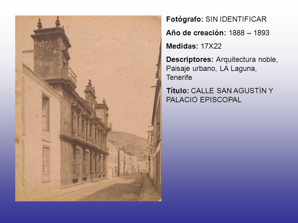 Fotógrafo: SIN IDENTIFICAR Año de creación: 1888 – 1893 Medidas: 17X22 Descriptores: Arquitectura noble, Paisaje urbano, LA Laguna, Tenerife Título: C