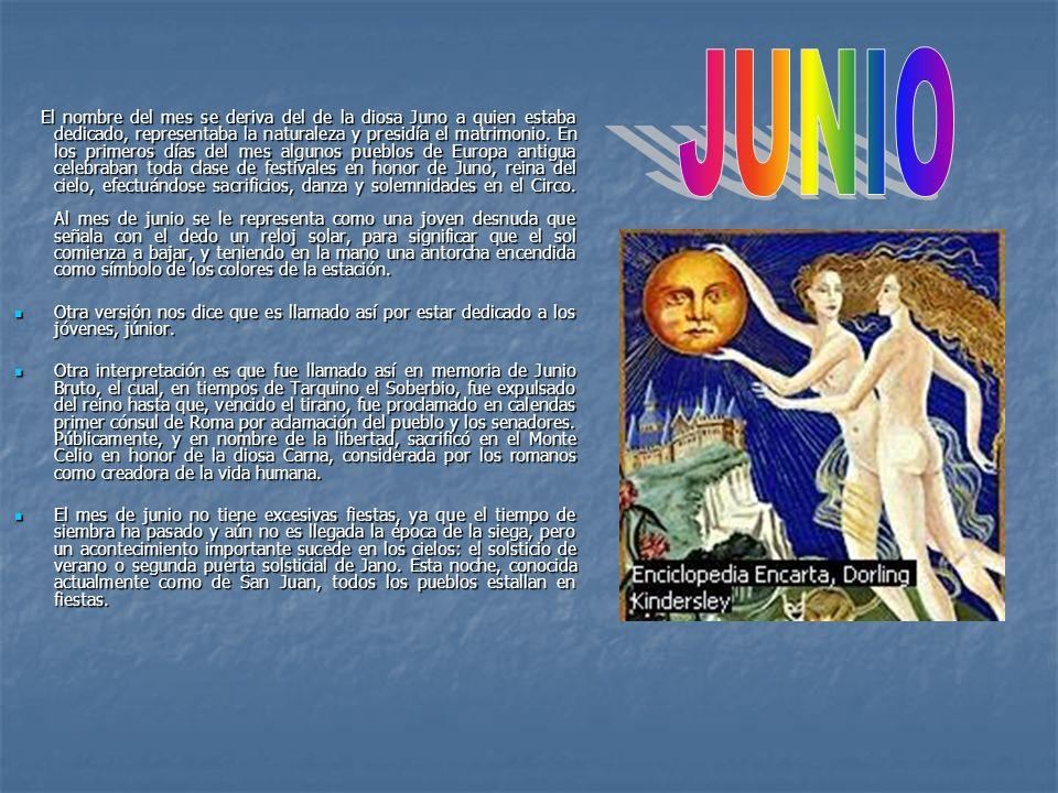 El nombre del mes se deriva del de la diosa Juno a quien estaba dedicado, representaba la naturaleza y presidía el matrimonio. En los primeros días de