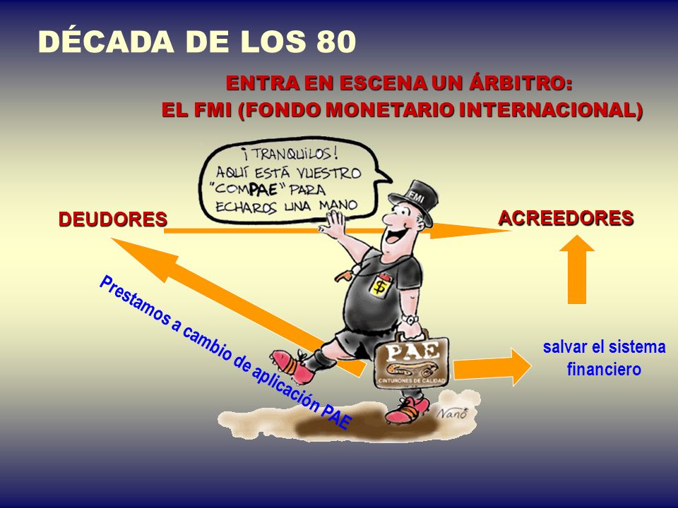 AÑO 1982 ESTALLIDO DE LA DEUDA. EL SISTEMA FINANCIERO PUEDE QUEBRAR 650 000 millones $ de Deuda MÉXICO DECLARA UNA MORATORIA EN SUS PAGOS