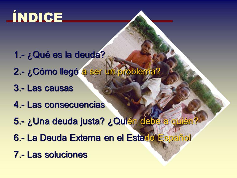 desajustan la vida de los más empobrecidos CAUSAS COYUNTURALES 4.- PAE = PROGRAMAS DE AJUSTE ESTRUCTURAL AUMENTAR LOS IMPUESTOS AUMENTAR LOS IMPUESTOS GASTAR MENOS EN SANIDAD, ENSEÑANZA Y SERVICIOS SOCIALES GASTAR MENOS EN SANIDAD, ENSEÑANZA Y SERVICIOS SOCIALES DEVALUAR LA MONEDA NACIONAL DEVALUAR LA MONEDA NACIONAL REDUCIR LAS SUBVENCIONES REDUCIR LAS SUBVENCIONES de los alimentos de primera necesidad REDUCIR LOS PUESTOS DE TRABAJO Y LOS SALARIOS REDUCIR LOS PUESTOS DE TRABAJO Y LOS SALARIOS FOMENTAR LA PRIVATIZACIÓN FOMENTAR LA PRIVATIZACIÓN GRANDES CULTIVOS DE PRODUCTOS BÁSICOS PARA LA EXPORTACIÓN GRANDES CULTIVOS DE PRODUCTOS BÁSICOS PARA LA EXPORTACIÓN.