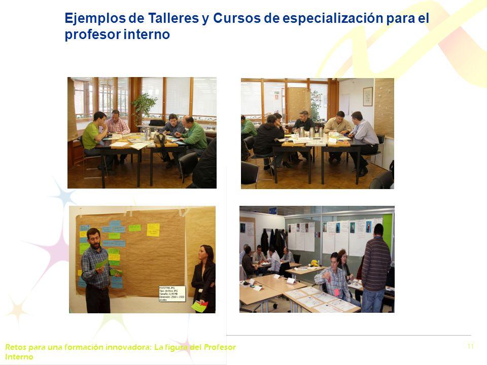 Retos para una formación innovadora: La figura del Profesor Interno 11 Ejemplos de Talleres y Cursos de especialización para el profesor interno