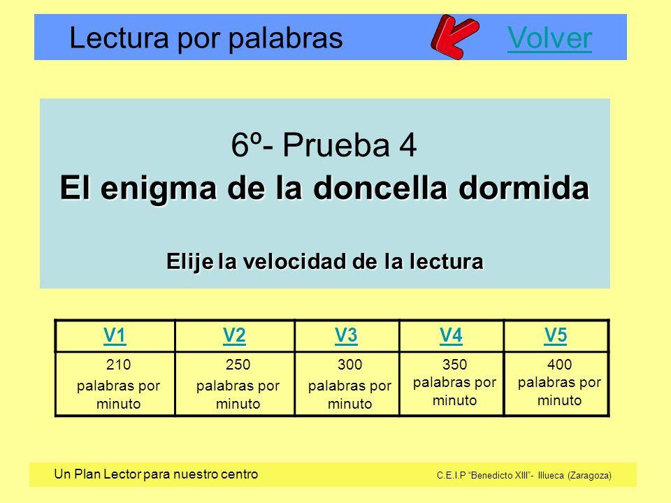 Lectura por palabras VolverVolver Un Plan Lector para nuestro centro C.E.I.P Benedicto XIII- Illueca (Zaragoza) V1 V2 V3 V4 V5 210 palabras por minuto