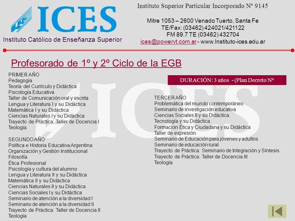 Instituto Católico de Enseñanza Superior Instituto Superior Particular Incorporado Nº 9145 Mitre 1053 – 2600 Venado Tuerto, Santa Fe TE/Fax: (03462) 424021/421122 FM 89.7 TE (03462) 432704 ices@powervt.com.arices@powervt.com.ar - www.Instituto-ices.edu.ar PRIMER AÑO Pedagogía Teoría del Currículo y Didáctica Psicología Educativa Taller de Comunicación oral y escrita Lengua y Literatura I y su Didáctica Matemática I y su Didáctica Ciencias Naturales I y su Didáctica Trayecto de Práctica: Taller de Docencia I Teología SEGUNDO AÑO Política e Historia Educativa Argentina Organización y Gestión Institucional Filosofía Ética Profesional Psicología y cultura del alumno Lengua y Literatura II y su Didáctica Matemática II y su Didáctica Ciencias Naturales II y su Didáctica Ciencias Sociales I y su Didáctica Seminario de atención a la diversidad I Seminario de atención a la diversidad II Trayecto de Práctica: Taller de Docencia II Teología TERCER AÑO Problemática del mundo contemporáneo Seminario de investigación educativa Ciencias Sociales II y su Didáctica Tecnología y su Didáctica Formación Ética y Ciudadana y su Didáctica Taller de expresión Seminario de Educación para jóvenes y adultos Seminario de educación rural Trayecto de Práctica: Seminario de Integración y Síntesis Trayecto de Práctica: Taller de Docencia III Teología Profesorado de 1º y 2º Ciclo de la EGB DURACIÓN: 3 años - (Plan Decreto Nº 0564/02)