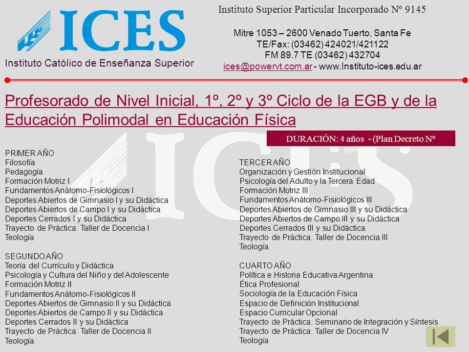 Instituto Católico de Enseñanza Superior Instituto Superior Particular Incorporado Nº 9145 Mitre 1053 – 2600 Venado Tuerto, Santa Fe TE/Fax: (03462) 4