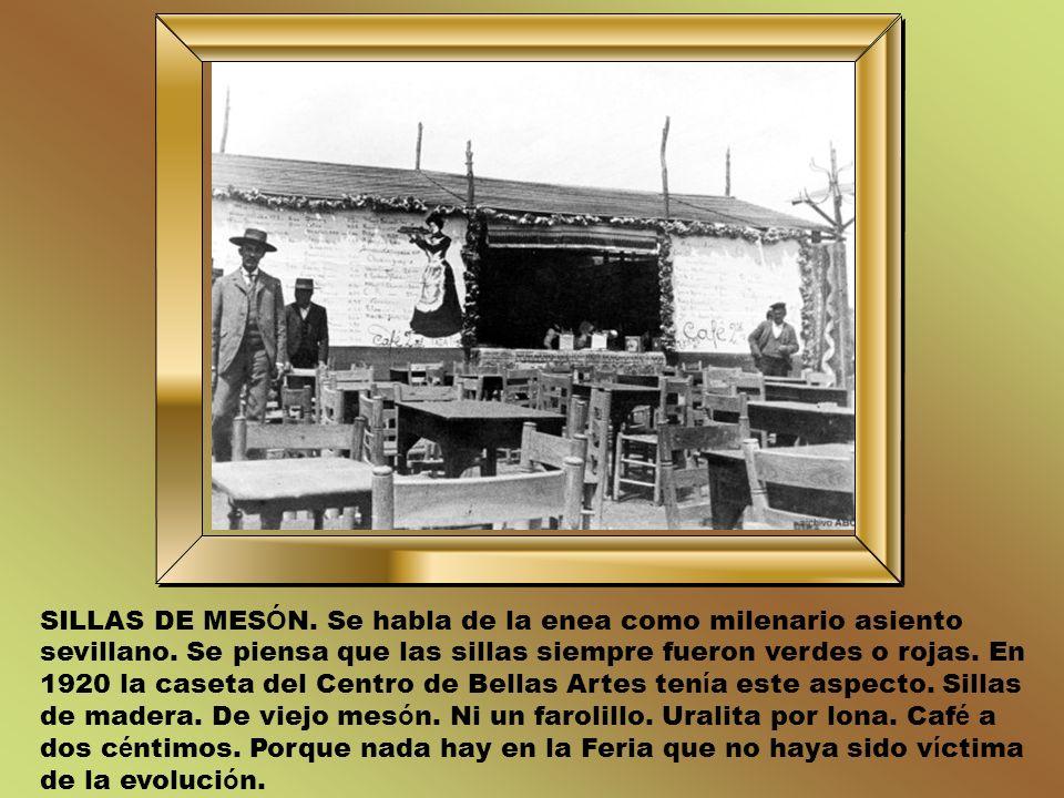FAROLILLOS DE VENECIA. Fue la primera vez que la reina Isabel II vino a la Feria. A ñ o 1877. A ñ o de los farolillos venecianos. Las bombillas se rec
