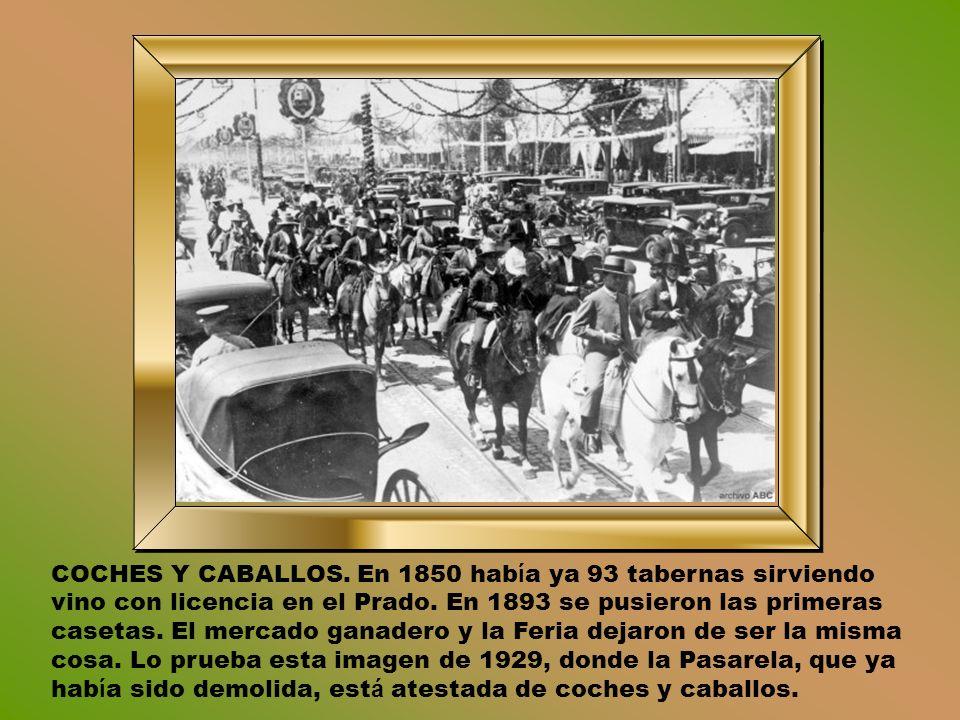 COCHES Y CABALLOS.En 1850 hab í a ya 93 tabernas sirviendo vino con licencia en el Prado.
