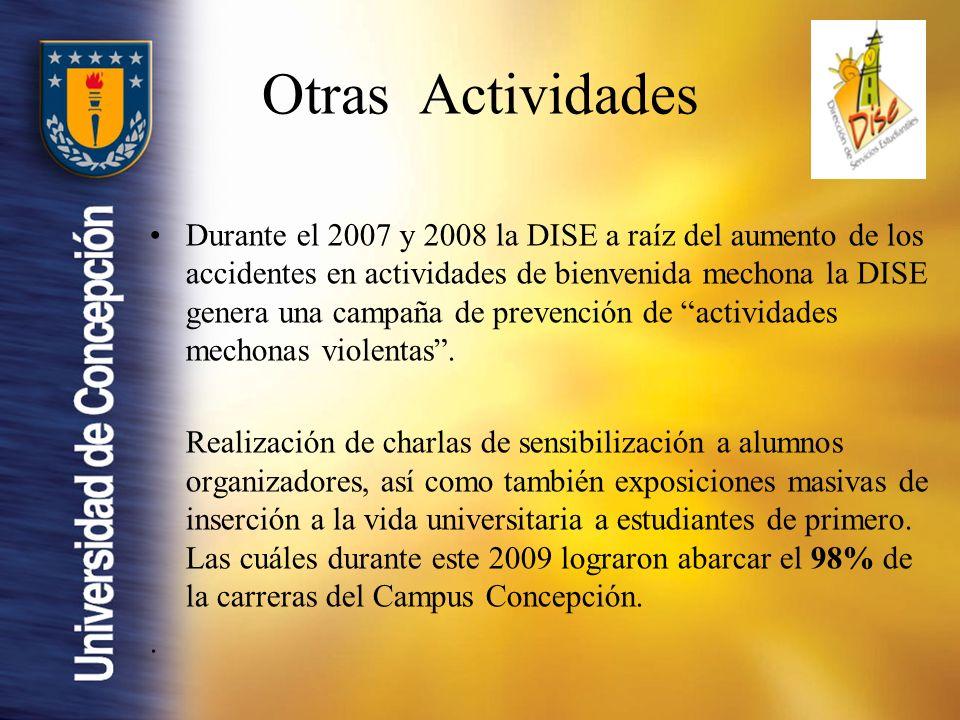 Durante el 2007 y 2008 la DISE a raíz del aumento de los accidentes en actividades de bienvenida mechona la DISE genera una campaña de prevención de actividades mechonas violentas.