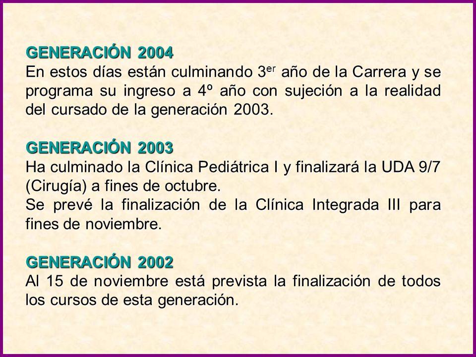 GENERACIÓN 2008 El total del cursado de 1 er año y sus primeras evaluaciones finales se completarán antes de culminar el año. GENERACIÓN 2007 Los atra
