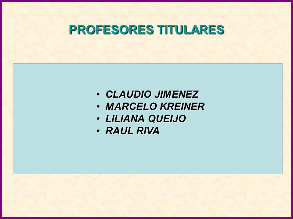 PROFESORES TITULARES CLAUDIO JIMENEZCLAUDIO JIMENEZ MARCELO KREINERMARCELO KREINER LILIANA QUEIJOLILIANA QUEIJO RAUL RIVARAUL RIVA