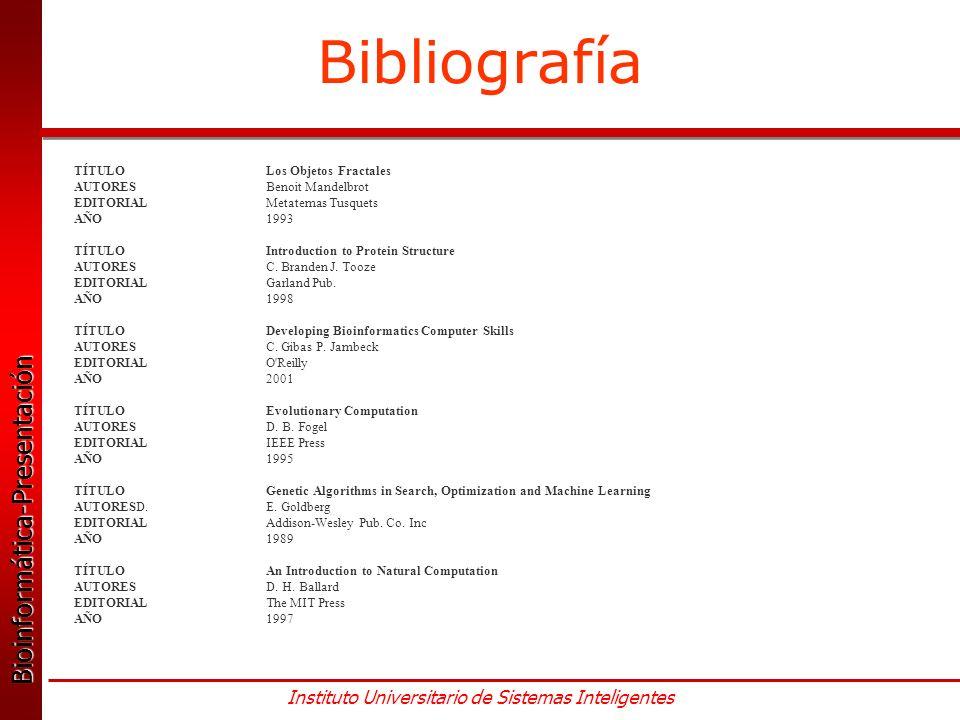 Bioinformática-Presentación Bioinformática-Presentación Instituto Universitario de Sistemas Inteligentes Bibliografía TÍTULO Los Objetos Fractales AUTORES Benoit Mandelbrot EDITORIALMetatemas Tusquets AÑO1993 TÍTULOIntroduction to Protein Structure AUTORESC.