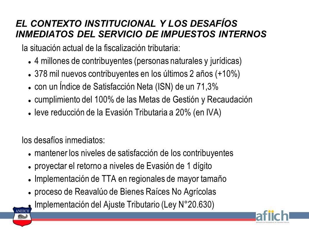 EL CONTEXTO INSTITUCIONAL Y LOS DESAFÍOS INMEDIATOS DEL SERVICIO DE IMPUESTOS INTERNOS la situación actual de la fiscalización tributaria: 4 millones de contribuyentes (personas naturales y jurídicas) 378 mil nuevos contribuyentes en los últimos 2 años (+10%) con un Índice de Satisfacción Neta (ISN) de un 71,3% cumplimiento del 100% de las Metas de Gestión y Recaudación leve reducción de la Evasión Tributaria a 20% (en IVA) los desafíos inmediatos: mantener los niveles de satisfacción de los contribuyentes proyectar el retorno a niveles de Evasión de 1 dígito Implementación de TTA en regionales de mayor tamaño proceso de Reavalúo de Bienes Raíces No Agrícolas Implementación del Ajuste Tributario (Ley N°20.630)