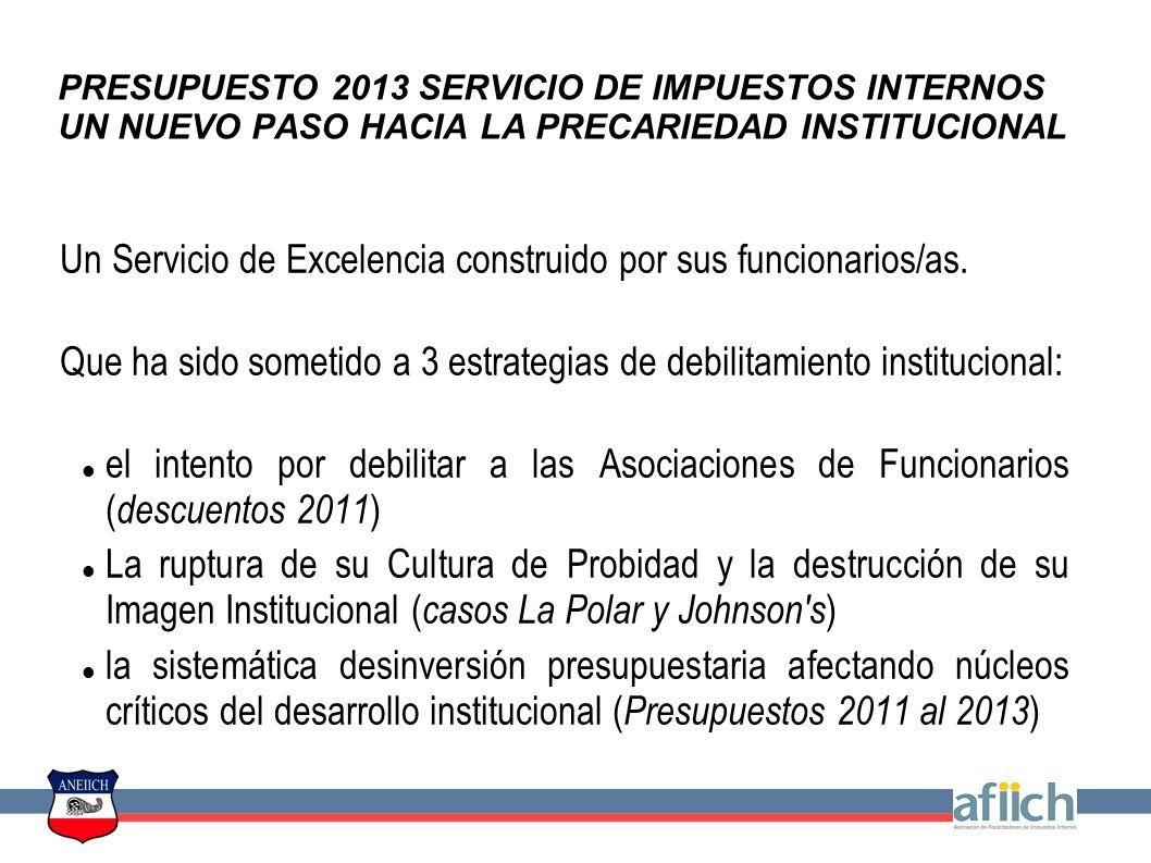 PRESUPUESTO 2013 SERVICIO DE IMPUESTOS INTERNOS UN NUEVO PASO HACIA LA PRECARIEDAD INSTITUCIONAL Un Servicio de Excelencia construido por sus funcionarios/as.
