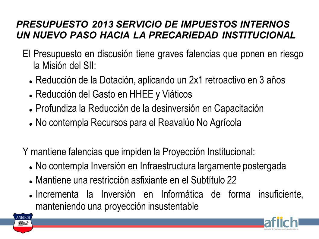 PRESUPUESTO 2013 SERVICIO DE IMPUESTOS INTERNOS UN NUEVO PASO HACIA LA PRECARIEDAD INSTITUCIONAL La reducción de Dotación es el dato más evidente, pero no el único, de la voluntad de despotenciar el accionar del SII en el Presupuesto 2013.