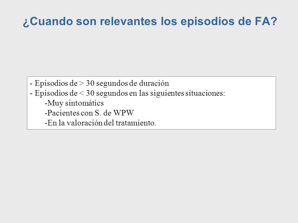 ¿Cuando son relevantes los episodios de FA? - Episodios de > 30 segundos de duración - Episodios de < 30 segundos en las siguientes situaciones: -Muy