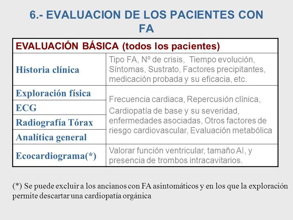 6.- EVALUACION DE LOS PACIENTES CON FA EVALUACIÓN BÁSICA (todos los pacientes) Historia clínica Tipo FA, Nº de crisis, Tiempo evolución, Síntomas, Sus