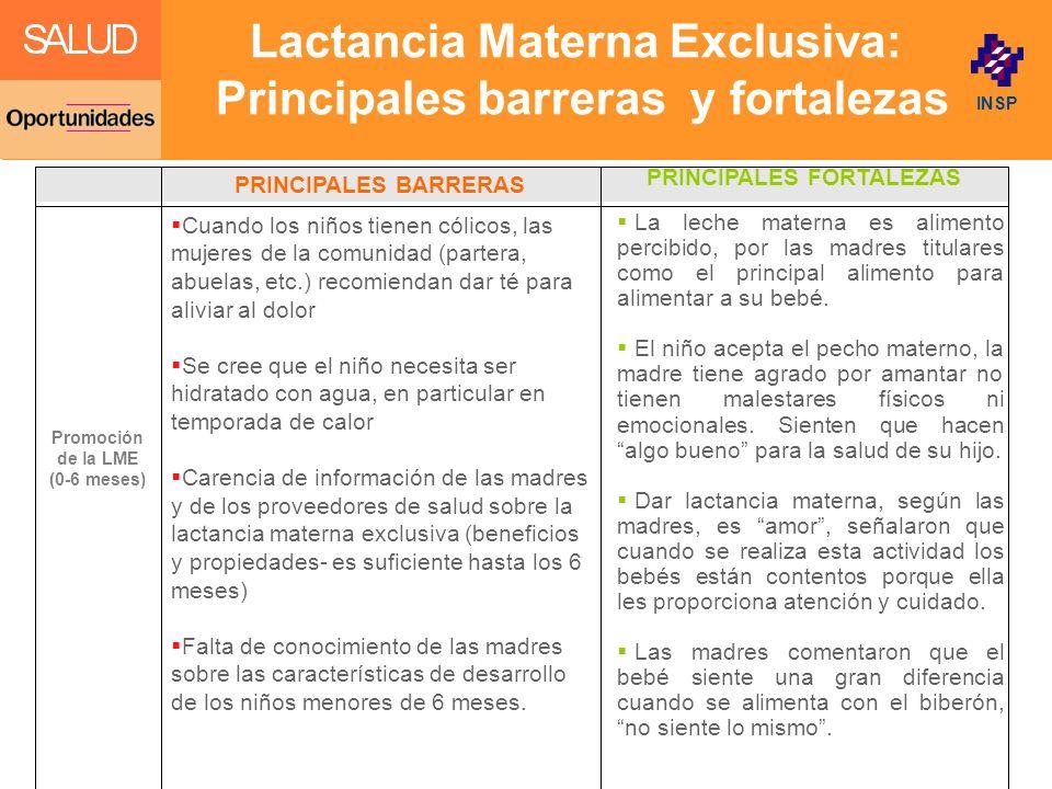 Click to edit Master title style INSP Lactancia Materna Exclusiva: Principales barreras y fortalezas La leche materna es alimento percibido, por las madres titulares como el principal alimento para alimentar a su bebé.